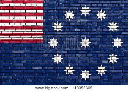 Flag Of Easton Painted On Brick Wall