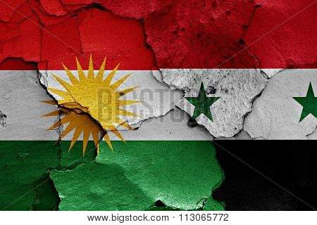 Flags Of Iraqi Kurdistan And Syria Painted On Cracked Wall