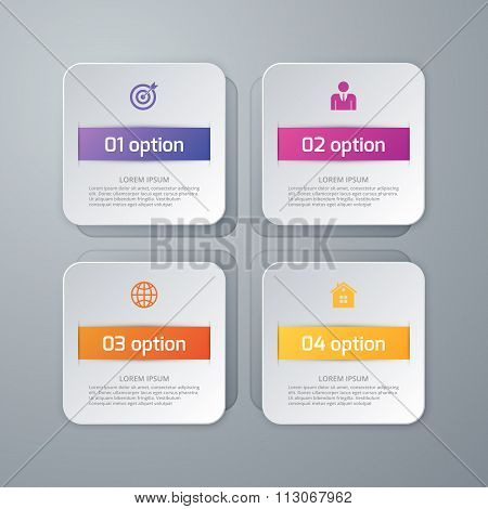 Vector illustration of four squares infographics