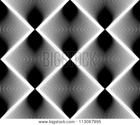 Ornate Vector Monochrome Abstract Background With Black Lines. Symmetric Decorative Graphic Pattern