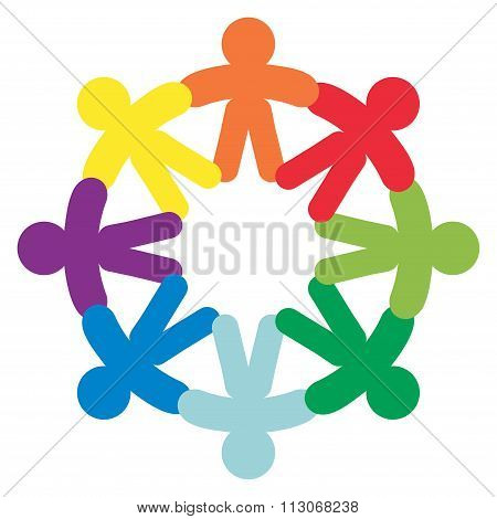 Business Corporate Abstract People Unite Friendship Logo , Human Company Vector Emblem poster