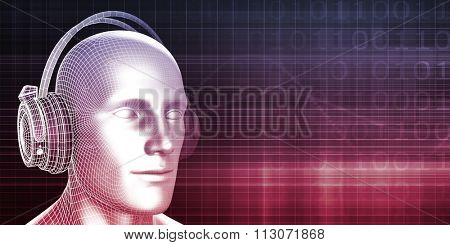 Man Wearing Earphones on an Abstract Background Art