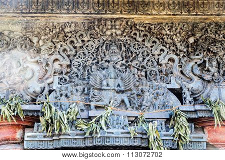 Artistic work on the upper wall captured at Chennakesava temple, Belur on December 30th, 2015