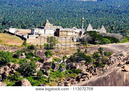 Jain temple aerial view captured from a distant mountain