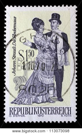 AUSTRIA - CIRCA 1970: A stamp printed in Austria, shows the operetta Die Fledermaus, by Johann Strauss, Famous Operettes series, circa 1970