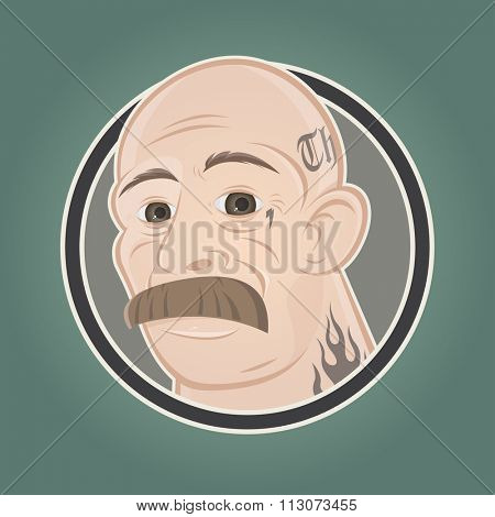 cartoon gangster in a badge