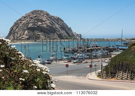 Morro Rock in the harbor of Morro Bay, California