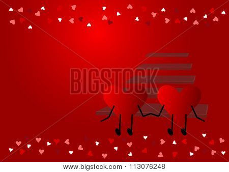 Two red hearts in front of the staircase