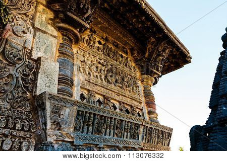 Artistic wall at entrance of Chennakesava temple at Belur on December 30th, 2015