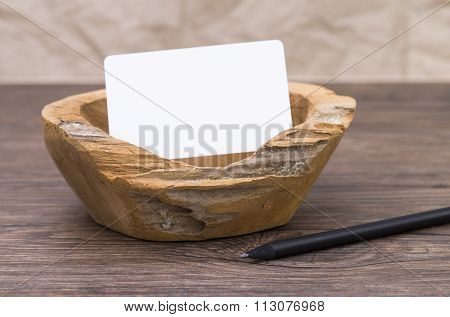 Wooden Dish On Old Table