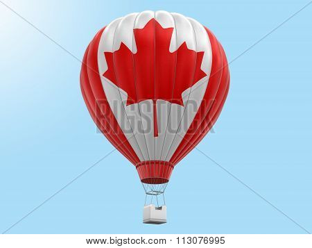 Hot Air Balloon with Canadian Flag. Image with clipping path