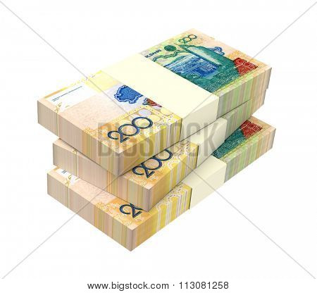 Kazakhstan tenge bills isolated on white background Computer generated 3D photo rendering.