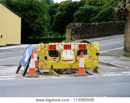 roadworks traffic cones diversion sign street