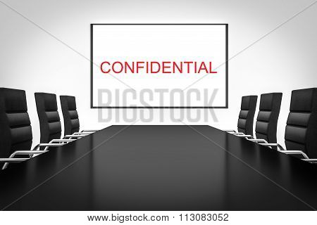 conference meeting room with whiteboard confidential illustration poster