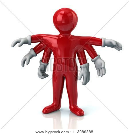 Red Cartoon Character Man With Six Hands