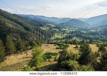 View from Sargan Eight narrow gauge railway from the village of Mokra Gora to Sargan Vitasi station in Serbia poster
