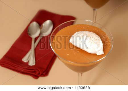 Two Butterscotch Puddings With Whipped Cream