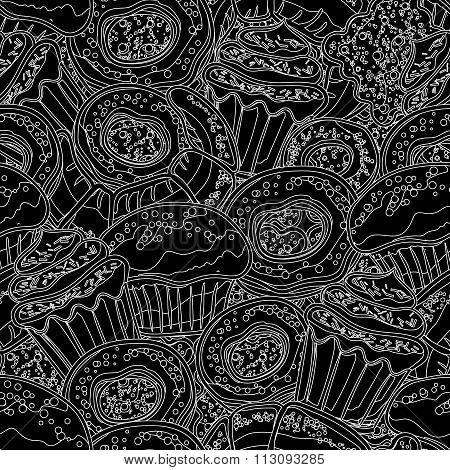 Hand drawn vector seamless pattern with donuts, cupcake, dessert, croissant, bagel on blak background