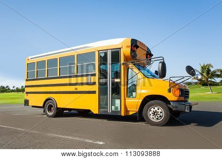 School buss standing on the parking