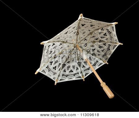 Lace Parasol White Closeup, Isolated On Black Background