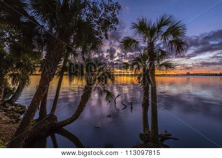 Sunset Over The Indian River - Merritt Island, Florida