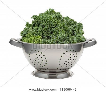 Fresh Kale In A Stainless Steel Colander