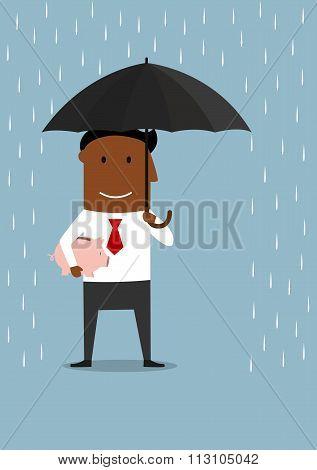 Businessman protecting savings and piggy bank