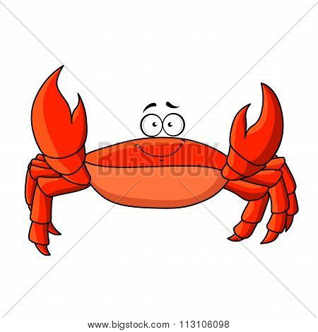 Cartoon red crab with upward claws