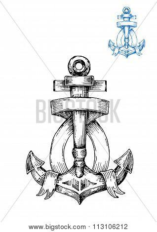 Retro anchor sketch with ribbon