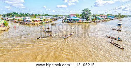 Panorama corner floating market in the Hau River