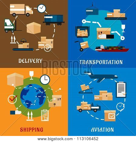 International delivery and logistic flat icons
