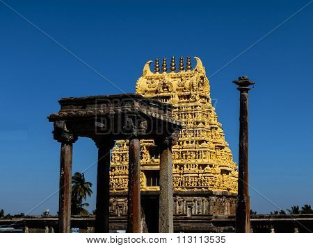Gopura, flag & Nritya mandapa of Chennakesava temple at Belur captured on December 30th, 2015