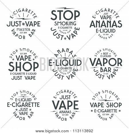 Vapor bar and vape shop typographic labels. Black print on white background poster