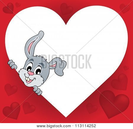 Heart shape with lurking bunny theme 1 - eps10 vector illustration.