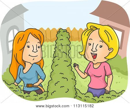 Illustration of Female Neighbors Greeting Each Other