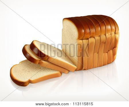 Bread, bakery icon, sliced fresh wheat bread isolated on white background