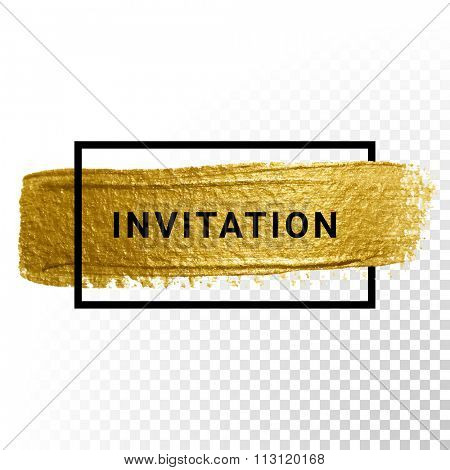 Vector gold glitter background with border frame.
