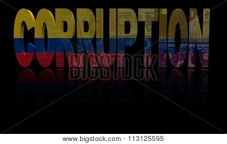 Corruption text with Colombian flag and currency illustration
