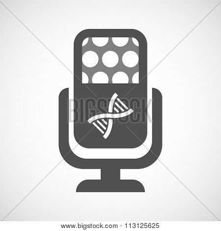 Isolated Microphone Icon With A Dna Sign