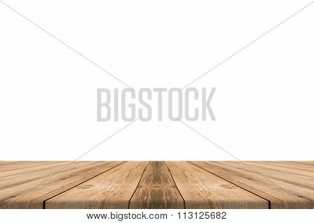 Empty light wood table top isolate on white background. Leave space for placement you background.