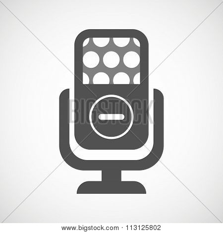 Isolated Microphone Icon With A Subtraction Sign