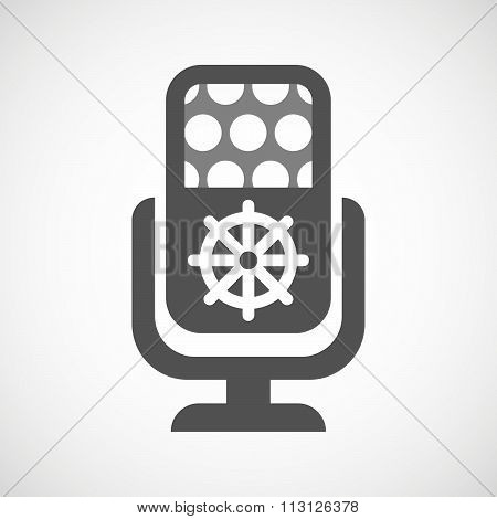 Isolated Microphone Icon With A Dharma Chakra Sign