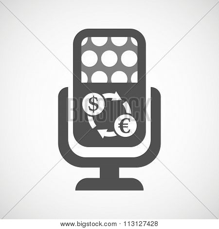 Isolated Microphone Icon With A Dollar Euro Exchange Sign
