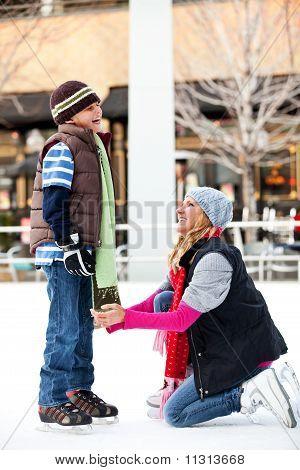 Mom helping son