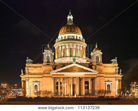 ST. PETERSBURG, RUSSIA - DECEMBER 25, 2015: Night view of St. Isaac's cathedral in winter. It is the largest orthodox basilica and the fourth largest cathedral in the world