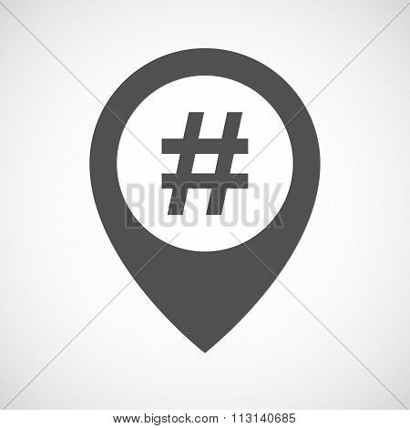 Isolated Map Marker With A Hash Tag