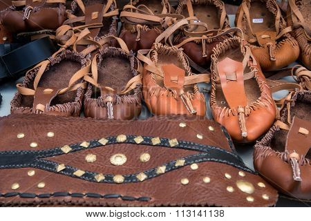 Traditional Bulgarian Lather Shoes - Tsarvuli