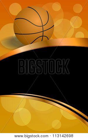 Background abstract orange black sport basketball ball frame vertical gold ribbon illustration