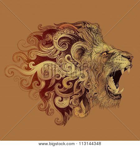 Tattoo Head Grinning Lion