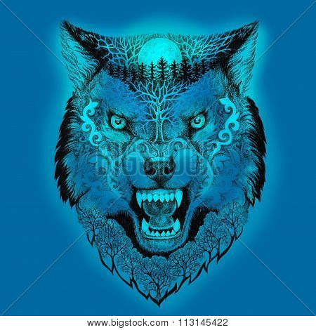 Tattoo Head Wolf Grinning